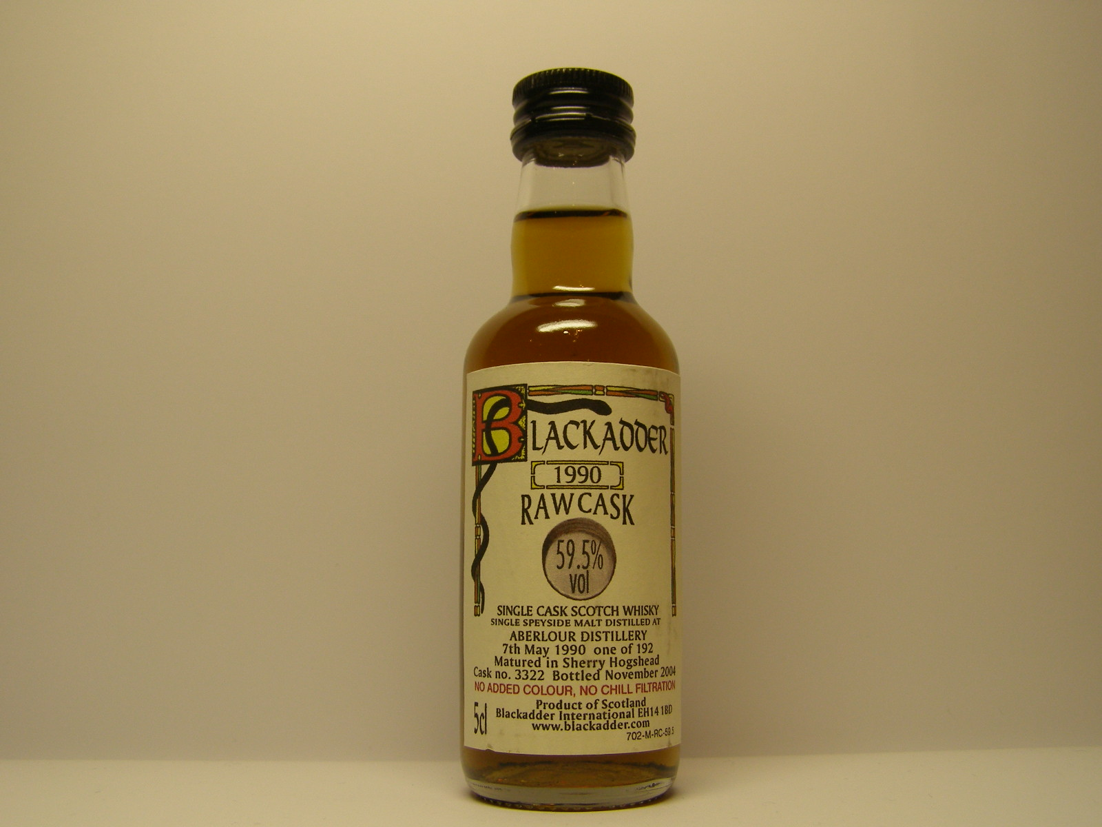 "SCSW SSM 1990-2004 ""Blackadder"" 5cl 59,5%vol"