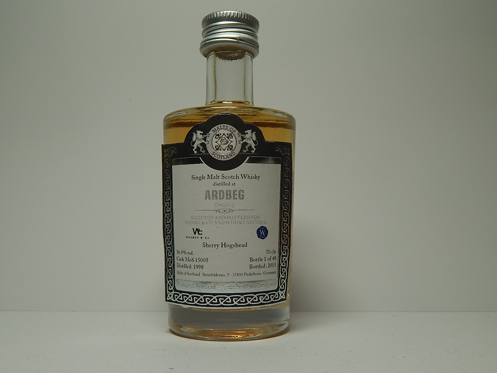 "SMSW Sherry Hogdhead 17yo 1998-2015 ""Malts of Scotland"" 5cle 56,9%vol."