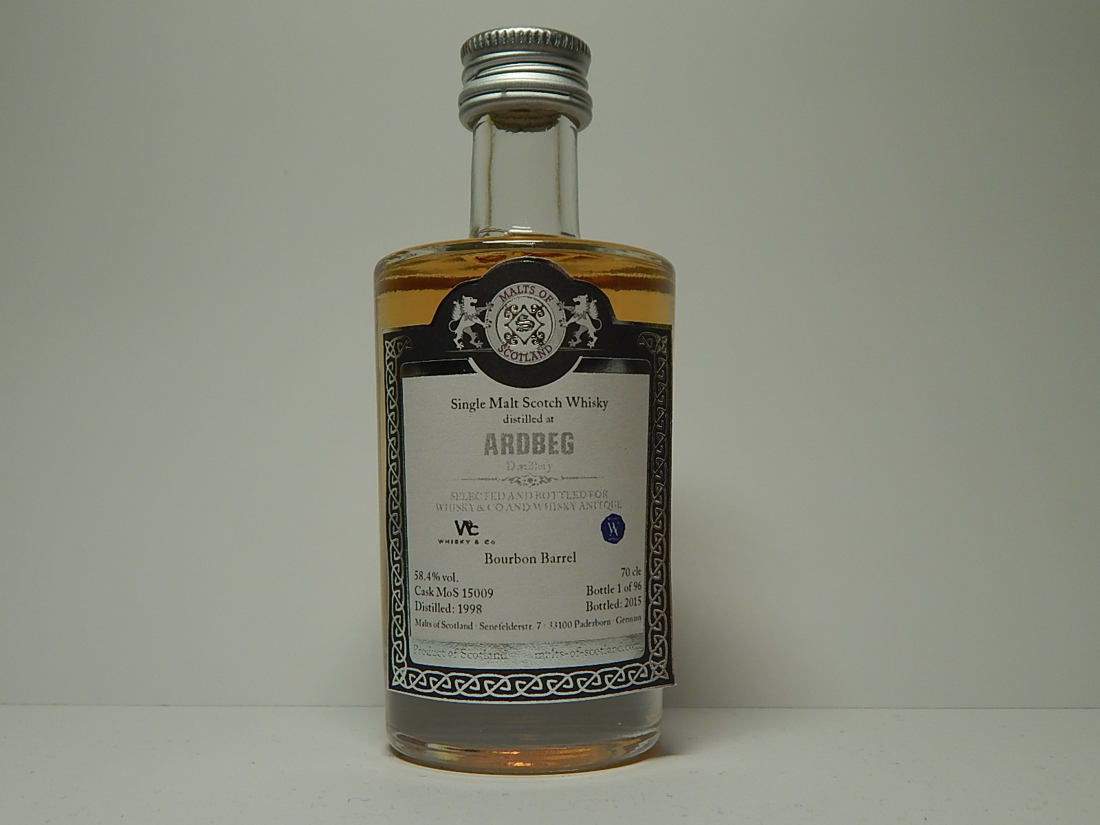 "SMSW Bourbon Barrel 17yo 1998-2015 ""Malts of Scotland"" 5cle 58,4%vol."