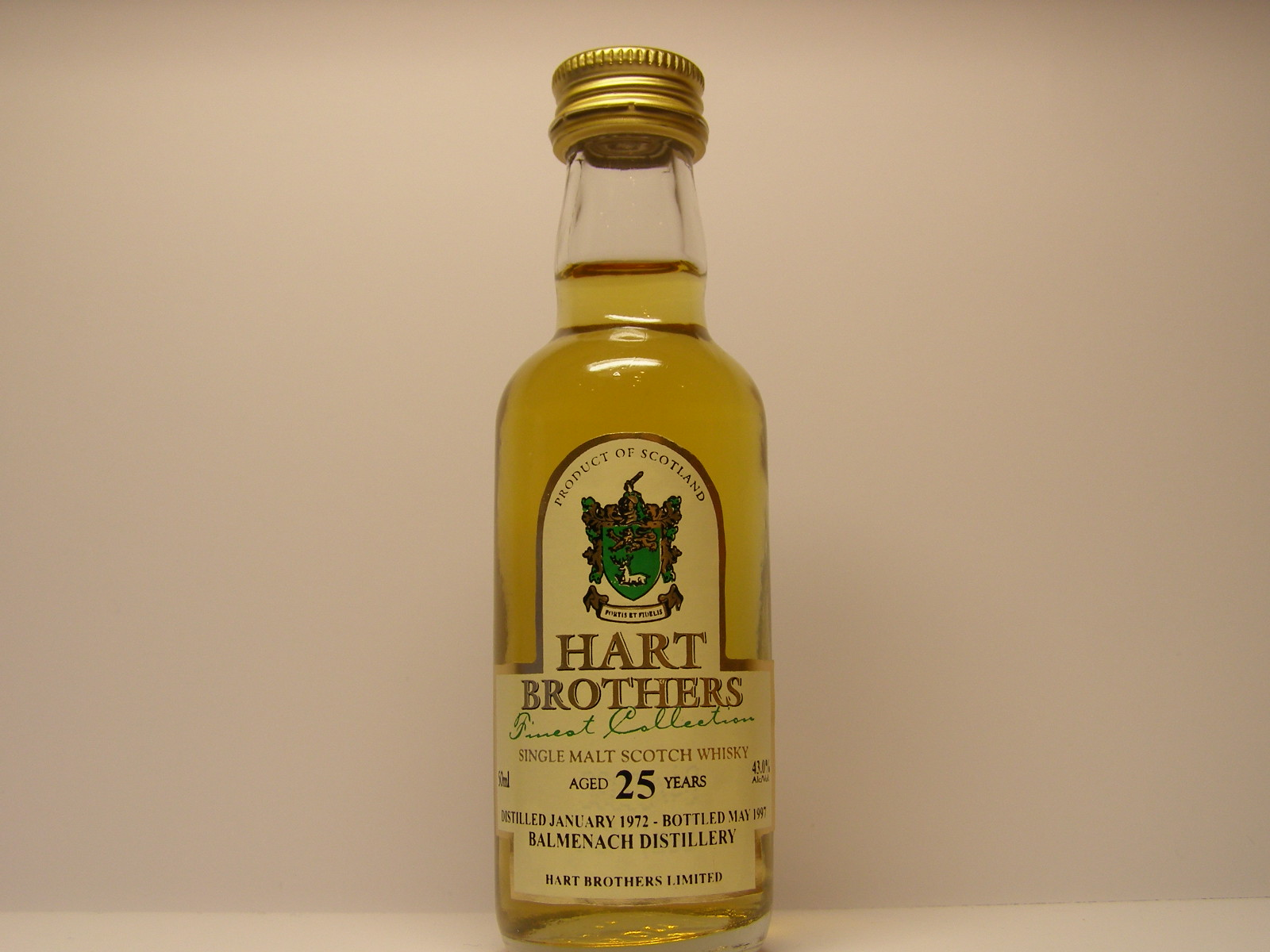 "SMSW 25yo 1972-1997 ""Hart Brothers"" 50ml 43%Alc/Vol."