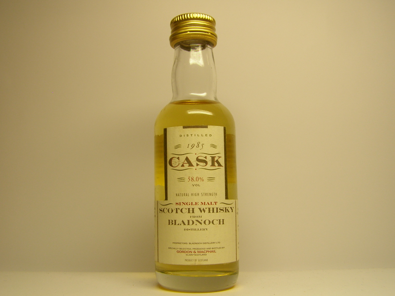 "SMSW 9yo 1985-1995 ""G&M Cask"" 5cl 58%VOL"