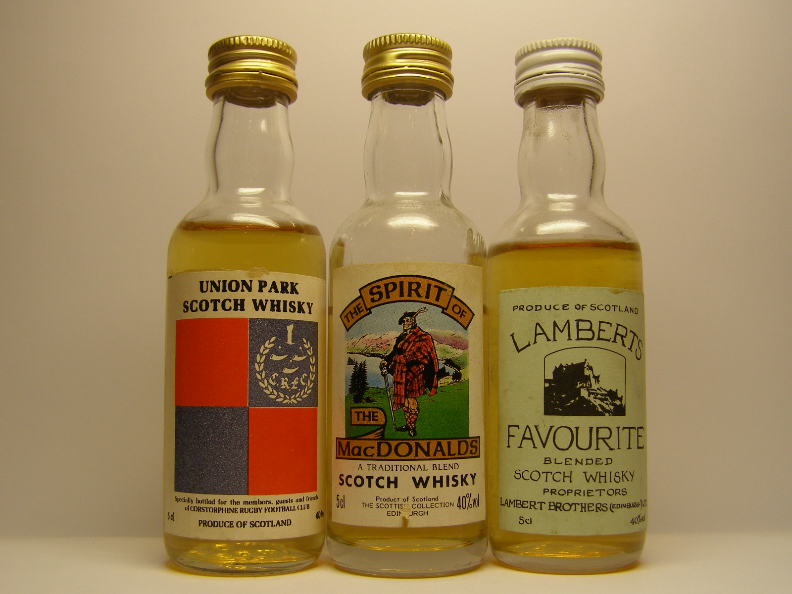 UNION PARK SCOTCH WHISKY , The SPIRIT of MACDONALD , LAMBERTS FAVOURITE
