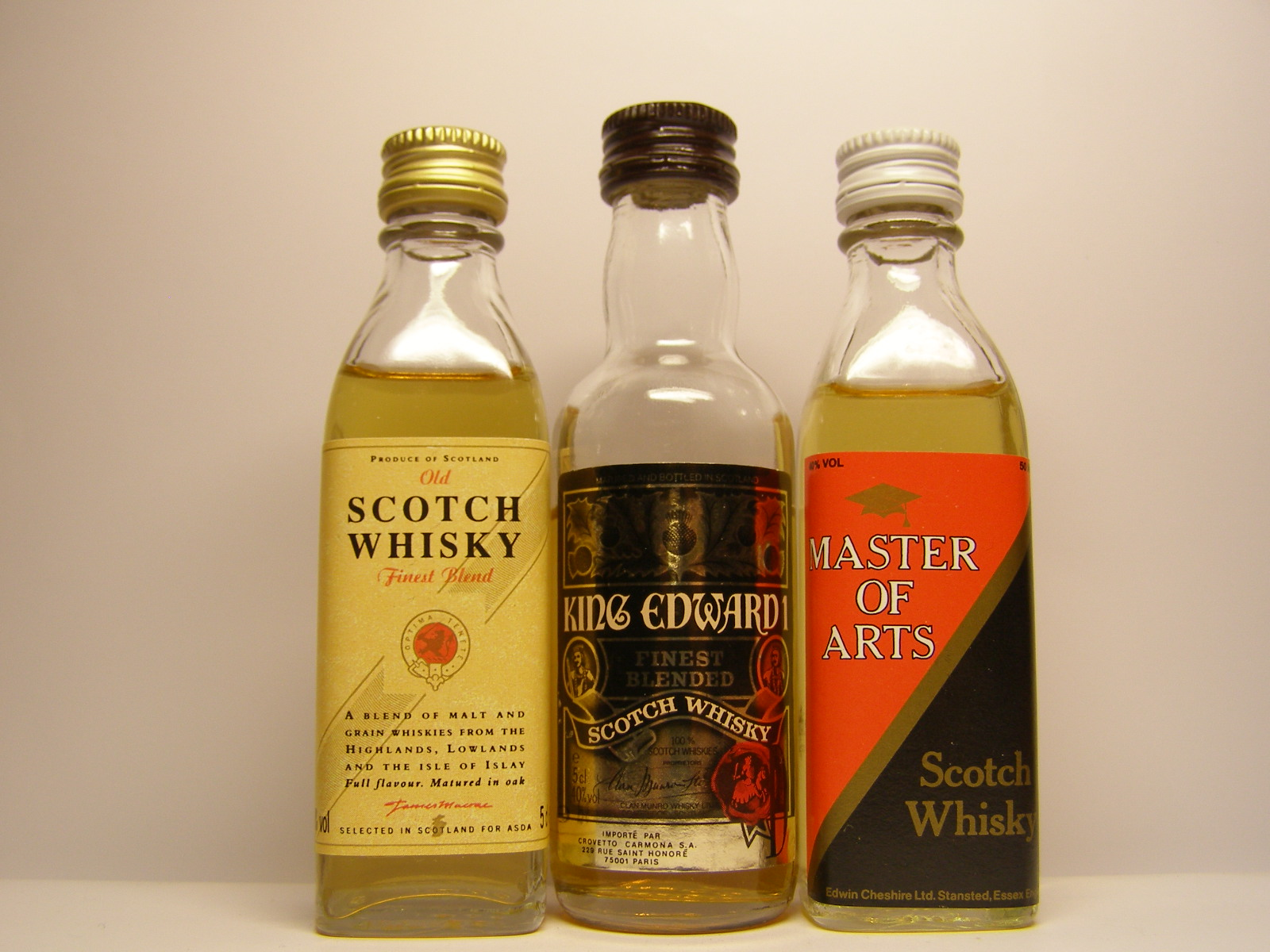 SCOTCH WHISKY , KING EDWARD I. , MASTER OF ARTS