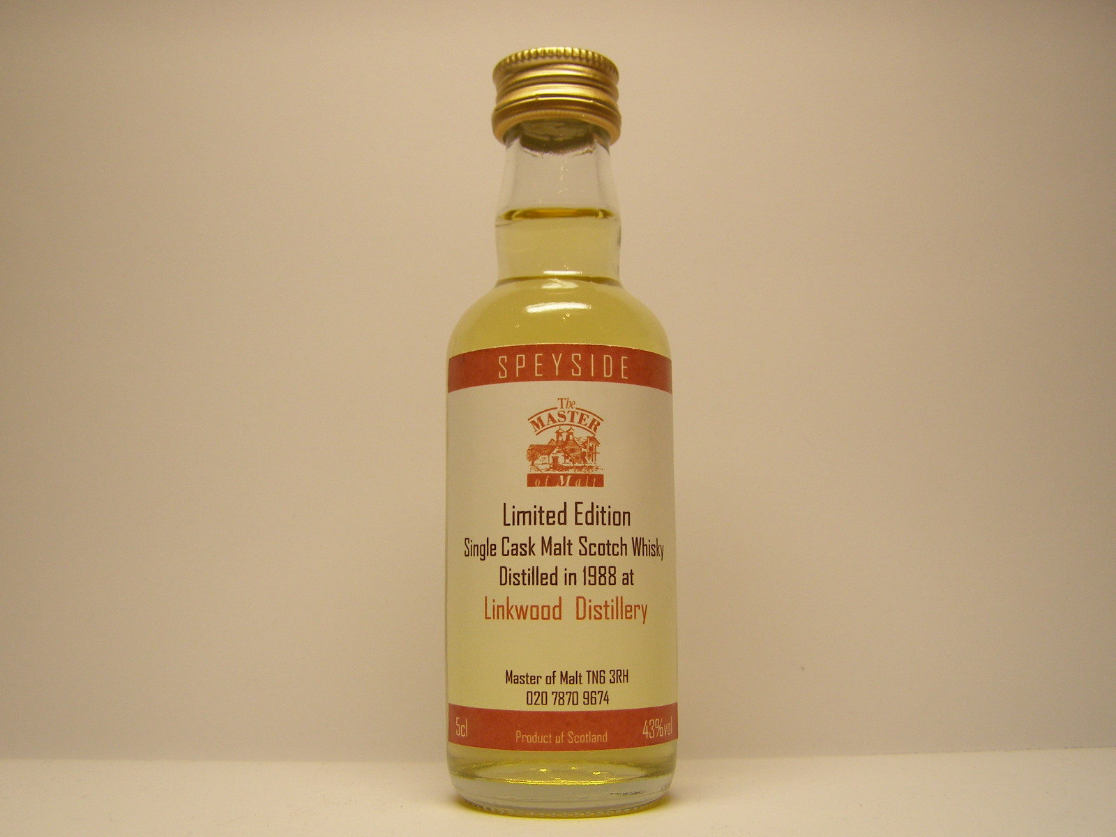 "SSCMW 1988 ""Master of Malt"" 5cl 43%vol"