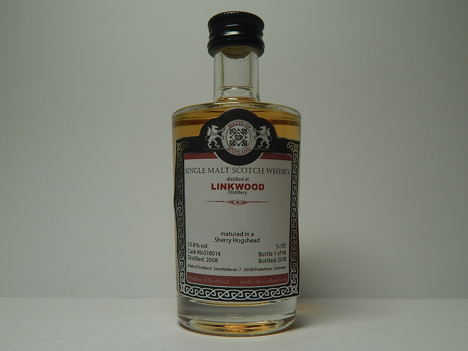 "Sherry Hogshead SMSW 10yo 2008-2018 ""Malts of Scotland"" 5cle 53,8%vol."