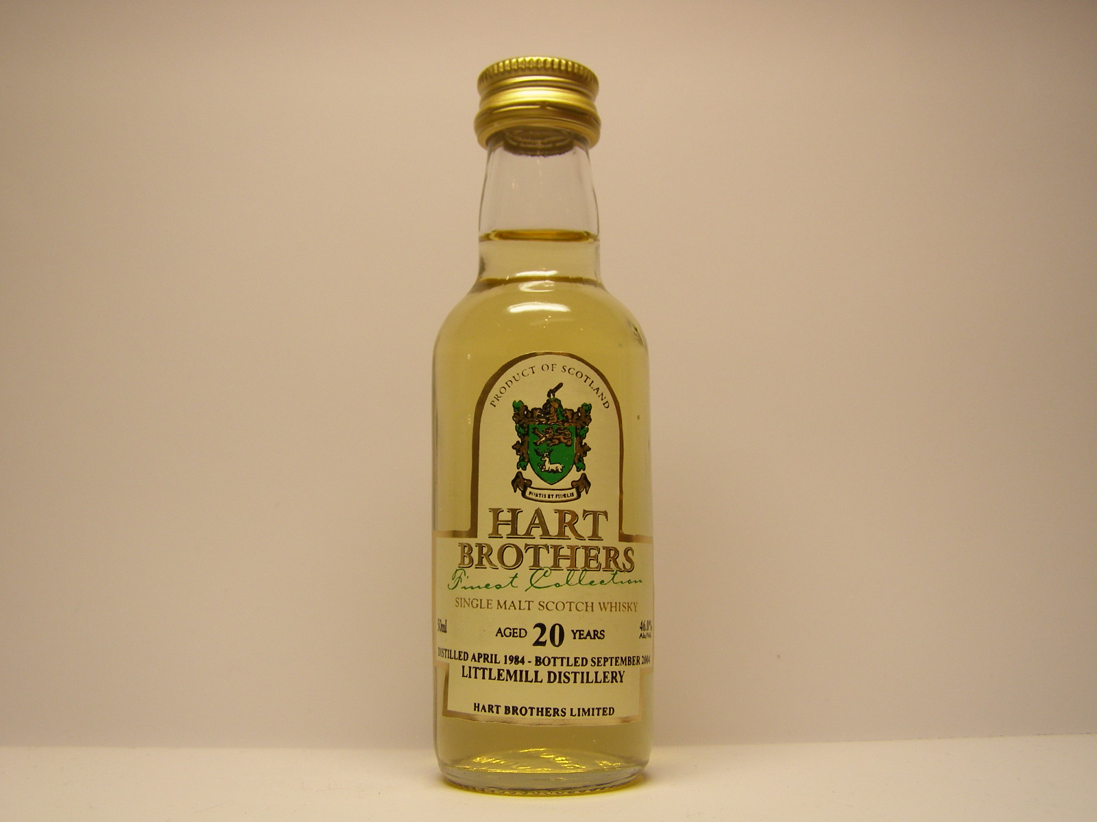 "SMSW 20yo 1984-2004 ""Hart Brothers"" 50ml 46%Alc/Vol."