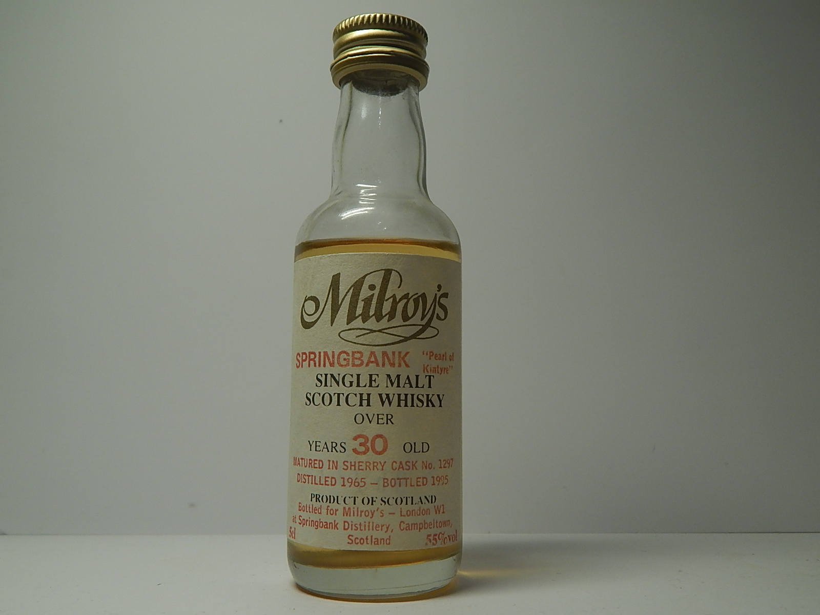 "SMSW Sherry Cask 30yo 1965-1995 ""Milroy´s"" 5cl 55%vol"
